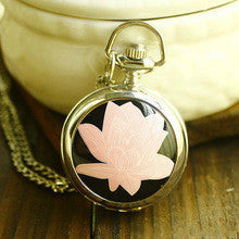 100pcs/lot Small Lotus Enamel Pocket Watch Corrente De Ouro Masculina Pocket Watch Steampunk Watch And Chain Pocket Bike