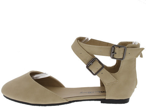 STACY39 BEIGE BUCKLE ANKLE STRAP FLAT