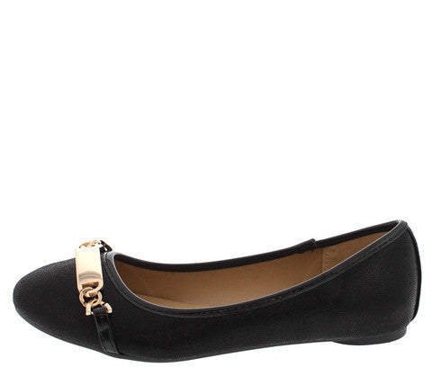 STARLA221 BLACK METAL CHAIN BAR BALLET FLAT