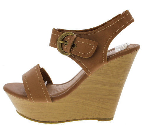 STEM COGNAC BUCKLE WOOD WEDGE