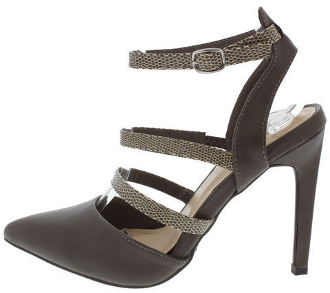 STEPPUP02X TAUPE TRIPLE STRAP POINTED HEEL