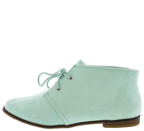 STRIP147 MENTHOL LACE UP ANKLE BOOT FLAT