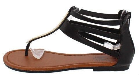 SUNSET4 BLACK GOLD ACCENT THONG SANDAL