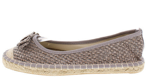 SUNSHINE03 SILVER BOW ESPADRILLE ROPE FLAT