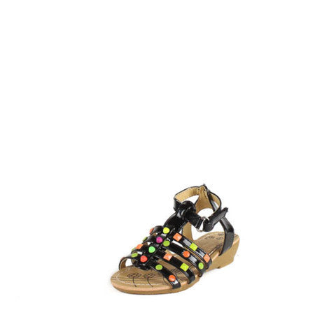 SUZY8A BLACK GLADIATOR STUDDED INFANT SANDAL