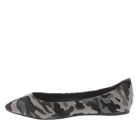TALIA01 GREY CAMOUFLAGE POINTED TOE FLAT