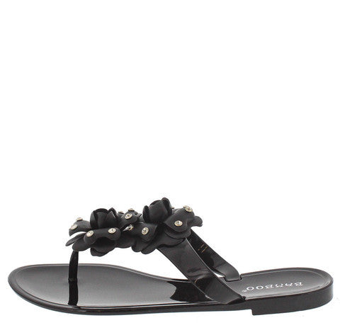 TATTOO02 BLACK CRYSTAL FLOWER SANDAL