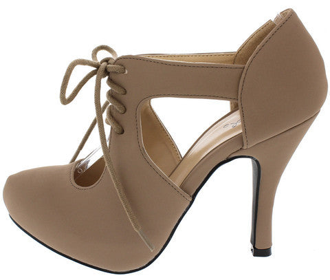 TRENCH233 TAUPE CUT OUT LACE UP HEEL
