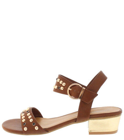 TULLIAS TAN STUDDED SQUARE HEEL SANDAL