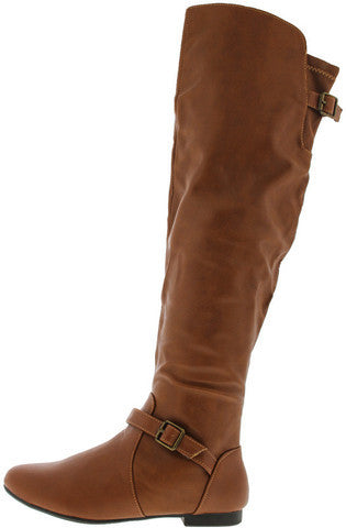 TIARA44 CHESTNUT FLAT OVER THE KNEE BOOT