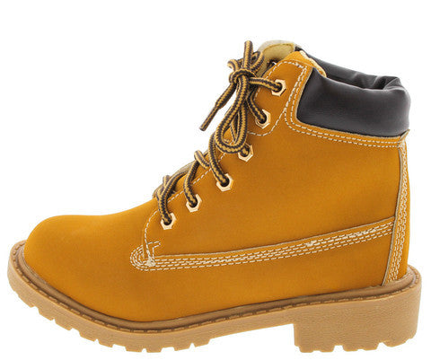 TIMBER002KM CAMEL LACE UP KIDS BOOT