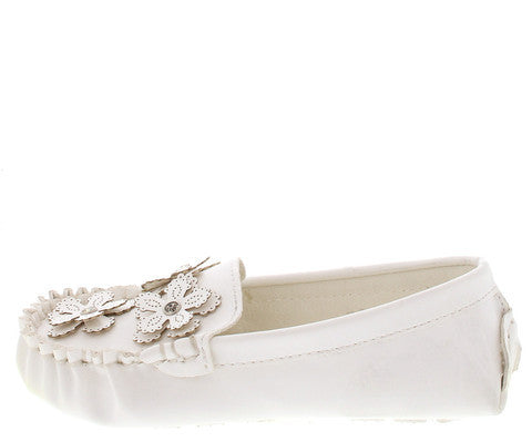 TODD4A WHITE MOCCASIN INFANT FLAT