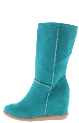 TOM3 MINT WEDGE FAUX FUR BOOT
