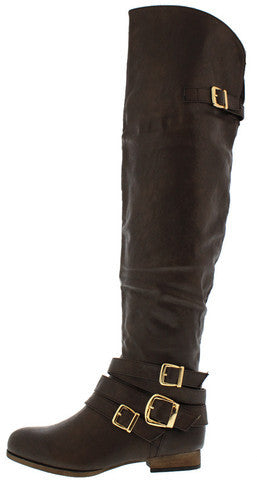 TOSCA105A CHOCOLATE OVER THE KNEE RIDING BOOT
