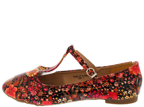 TRISS23 FLORAL PATENT MARY JANE FLAT