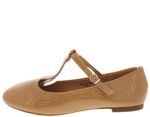 TRISS23 TAUPE PATENT MARY JANE FLAT