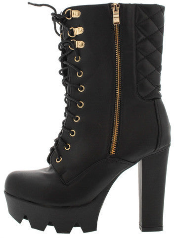 TROPICAL15 BLACK QUILTED LUG SOLE ANKLE BOOT