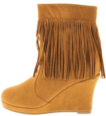 TUNAS94 TAN FRINGE WEDGE BOOT