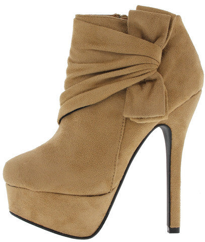 TWINKLE NUDE FAUX SUEDE SIDE BOW ANKLE BOOT