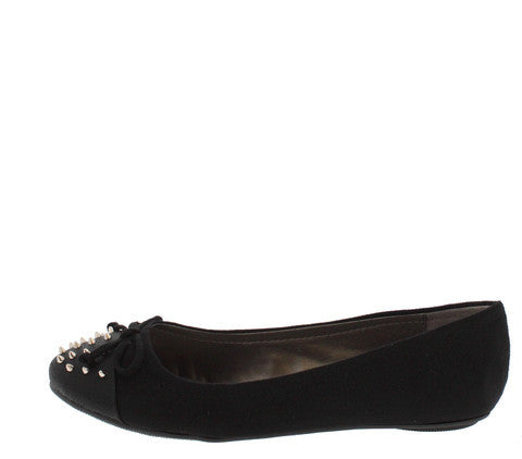 TYPO BLACK SPIKE STUDDED BOW TOE BALLET FLAT