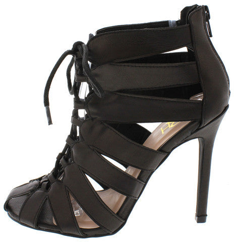 UNA02 BLACK CAGED CUT OUT LACE UP HEEL