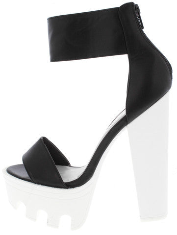 VIVE04 BLACK WHITE OPEN TOE LUG SOLE PLATFORM HEEL