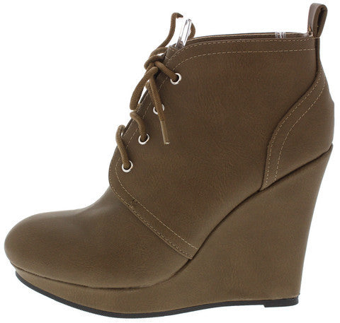 VAL01 TAUPE LACE UP WEDGE ANKLE BOOT