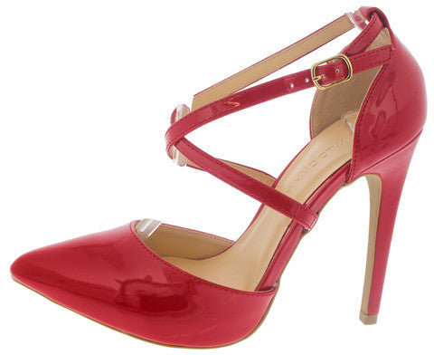 VALERIE14 RED CROSS ANKLE POINTED TOE HEEL