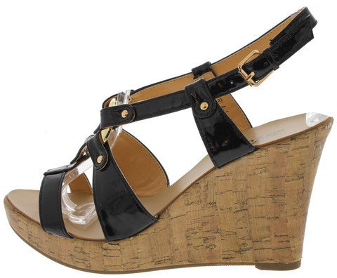 VERLA1 BLACK WOVEN GOLD ACCENTED WEDGE