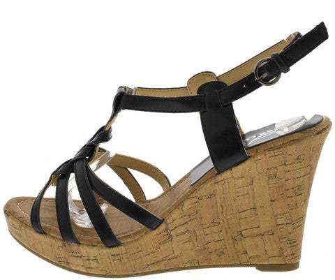 VERLA3 BLACK WOVEN CAGED CORK WEDGE
