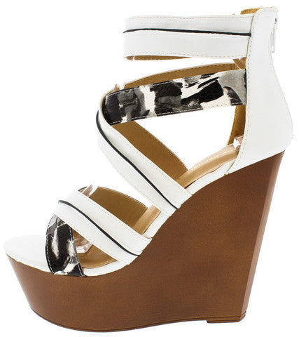 VICKS WHITE ABSTRACT OPEN TOE WOOD PLATFORM WEDGE
