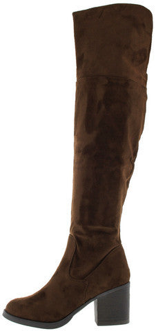 VICTORIA01 BROWN FAUX SUEDE OVER THE KNEE BOOT