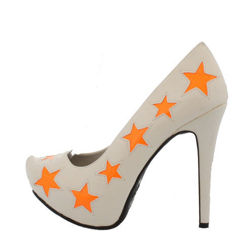 VIRAL68 WHITE ORANGE STAR PLATFORM HEEL