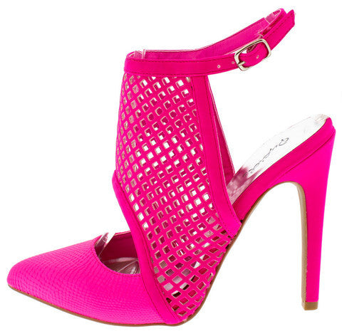 VIRTUE35 HOT PINK SNAKE MESH POINTED TOE HEEL