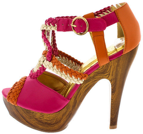 VOCITA FUCHSIA BEIGE ORANGE BRAIDED WOOD HEEL