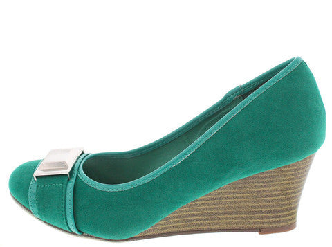 VOICE BLUE GREEN STUD TOE STACKED WEDGE
