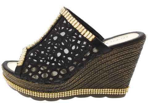 W1834 BLACK RHINESTONE LASER CUT SLIDE WEDGE