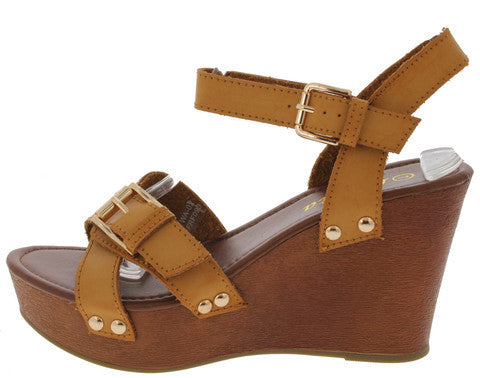 WA02 CAMEL BUCKLE WOOD PLATFORM WEDGE