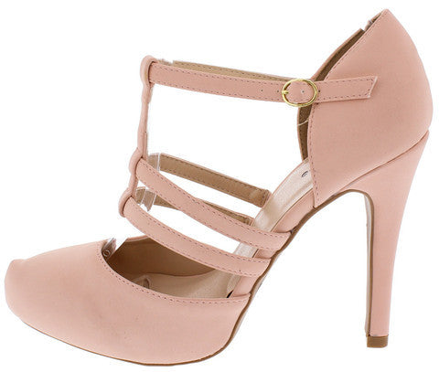 WALTZ14 BLUSH CAGED T-STRAP ALMOND TOE HEEL