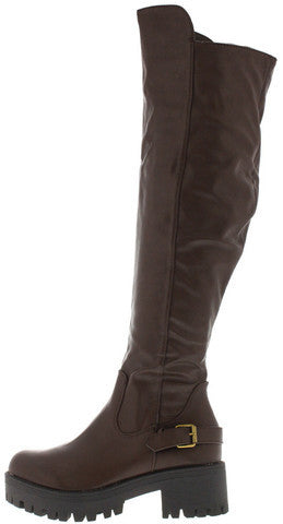 WILLY1 BROWN LUG SOLE OVER THE KNEE BOOT