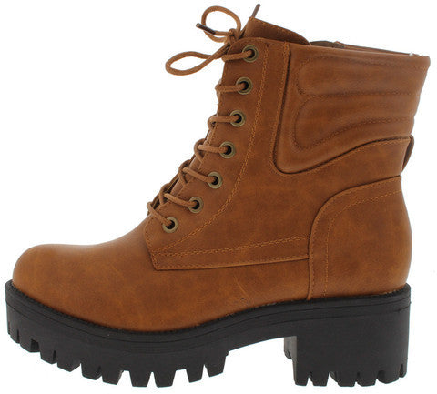 WILLY2 COGNAC LACE UP LUG SOLE ANKLE BOOT