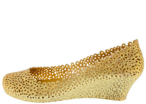 WINDY GOLD GLITTER FLORAL CUT OUT WEDGE