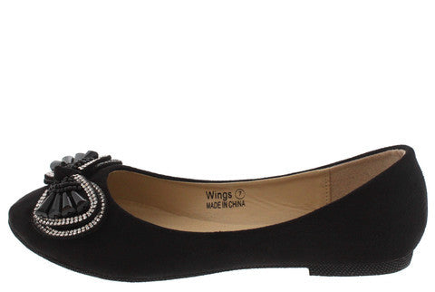 WINGS BLACK BEADED RHINESTONE BOW FLAT