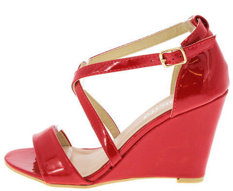 WIWI002 RED WRAP AROUND FAUX PATENT WEDGE