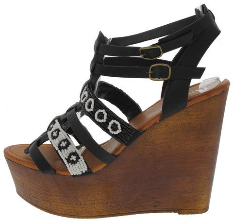 WOOBERY12 BLACK BEADED AZTEC PRINT WEDGE