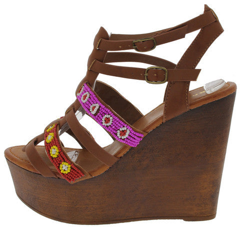 WOOBERY12 CHESTNUT BEADED AZTEC PRINT WEDGE