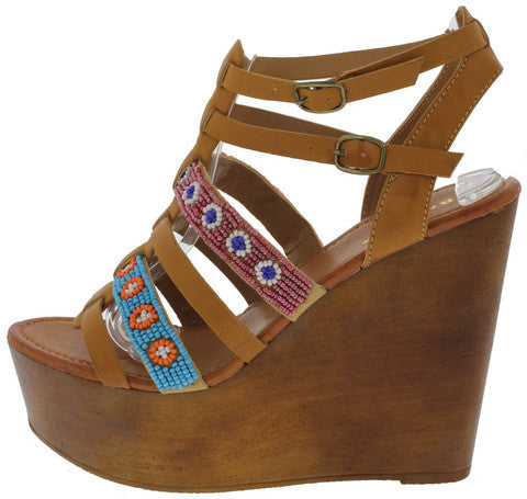 WOOBERY12 NATURAL BEADED AZTEC PRINT WEDGE