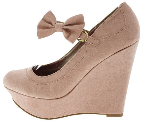 WORTHY205 BLUSH MARY JANE BOW WEDGE