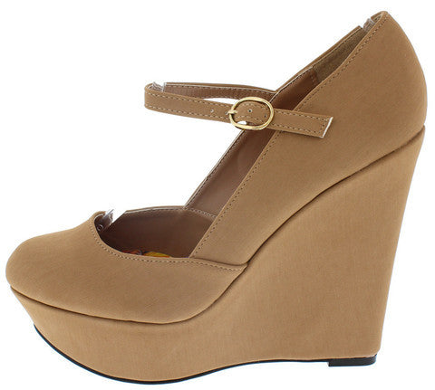 WORTHY219 TAUPE MARY JANE ANKLE STRAP WEDGE