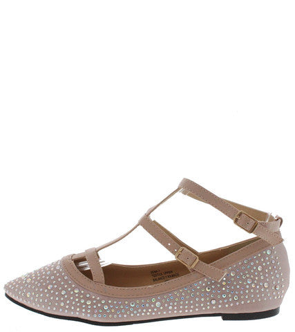 XENA1 NUDE RHINESTONE CAGED T-STRAP FLAT